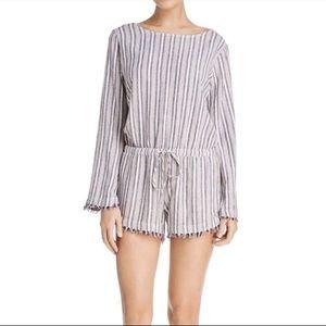 Cloth & Stone long sleeve striped romper shorts